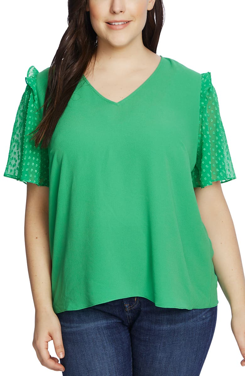 CECE Clip Dot Sleeve Blouse, Main, color, 333