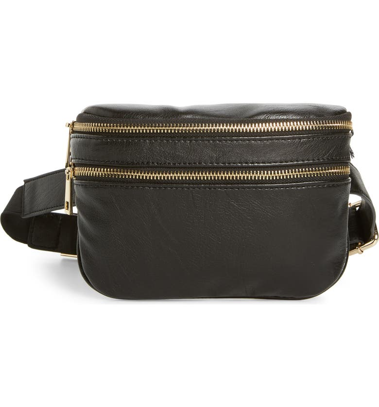 SOLE SOCIETY Cadee Faux Leather Belt Bag, Main, color, 001
