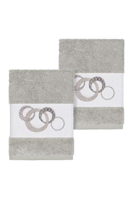 Image of LINUM HOME Annabelle Embellished Washcloth - Set of 2 - Light Grey