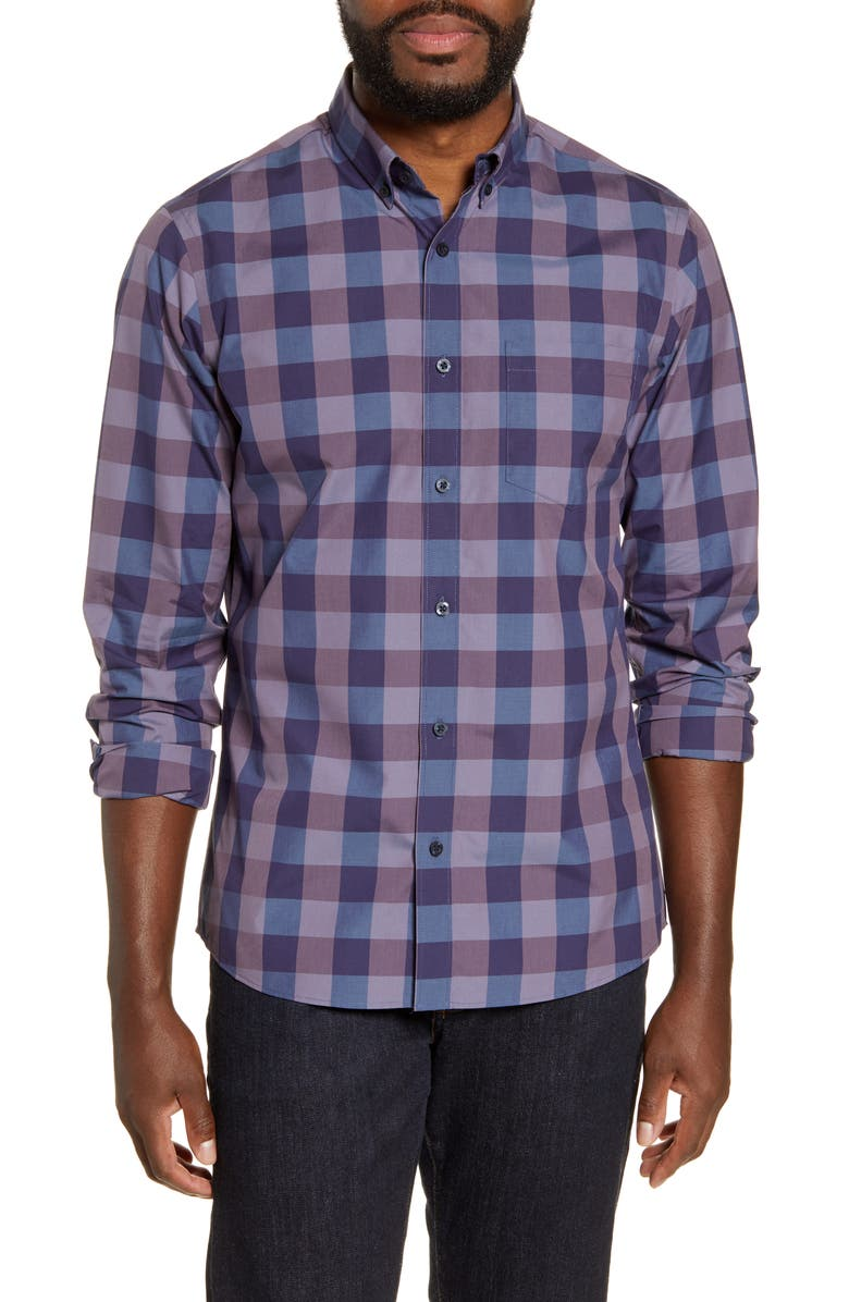 NORDSTROM MEN'S SHOP Regular Fit Button-Down Shirt, Main, color, PURPLE NAVY CHECK