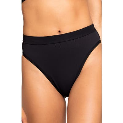 L Space French Cut High Waist Textured Swim Bottoms, Black