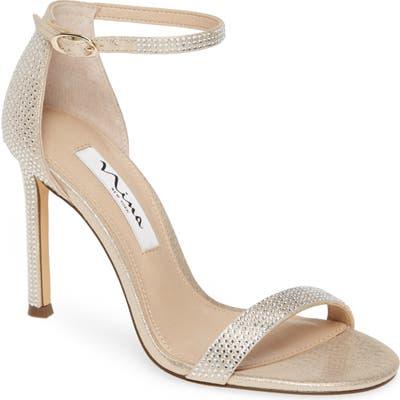 Nina Dayzee Crystal Ankle Strap Sandal, Metallic