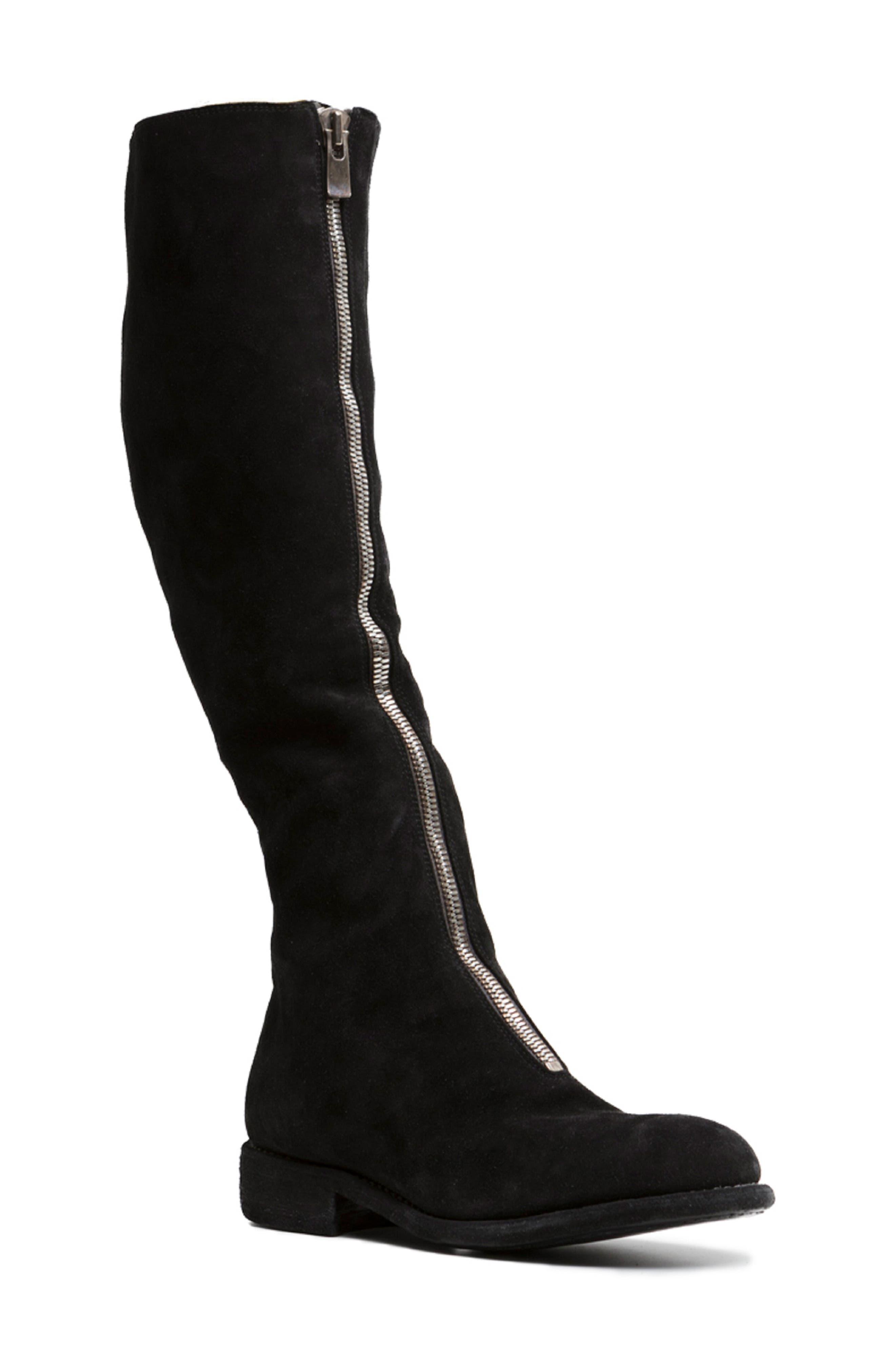 ,                             Front Zip Tall Boot,                             Main thumbnail 1, color,                             BLACK