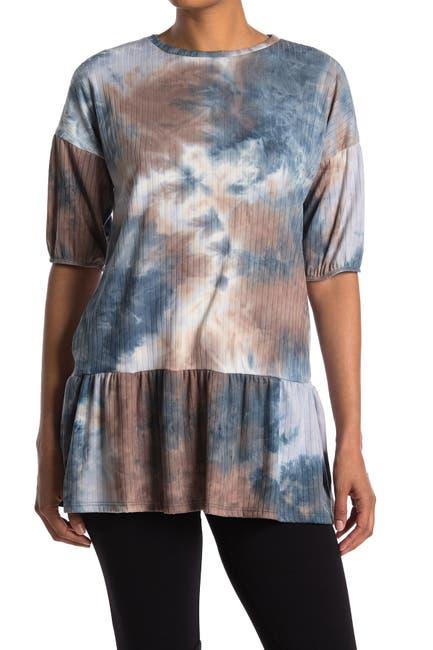 Image of Velvet Torch Puff Sleeve Tie Dye Printed Top