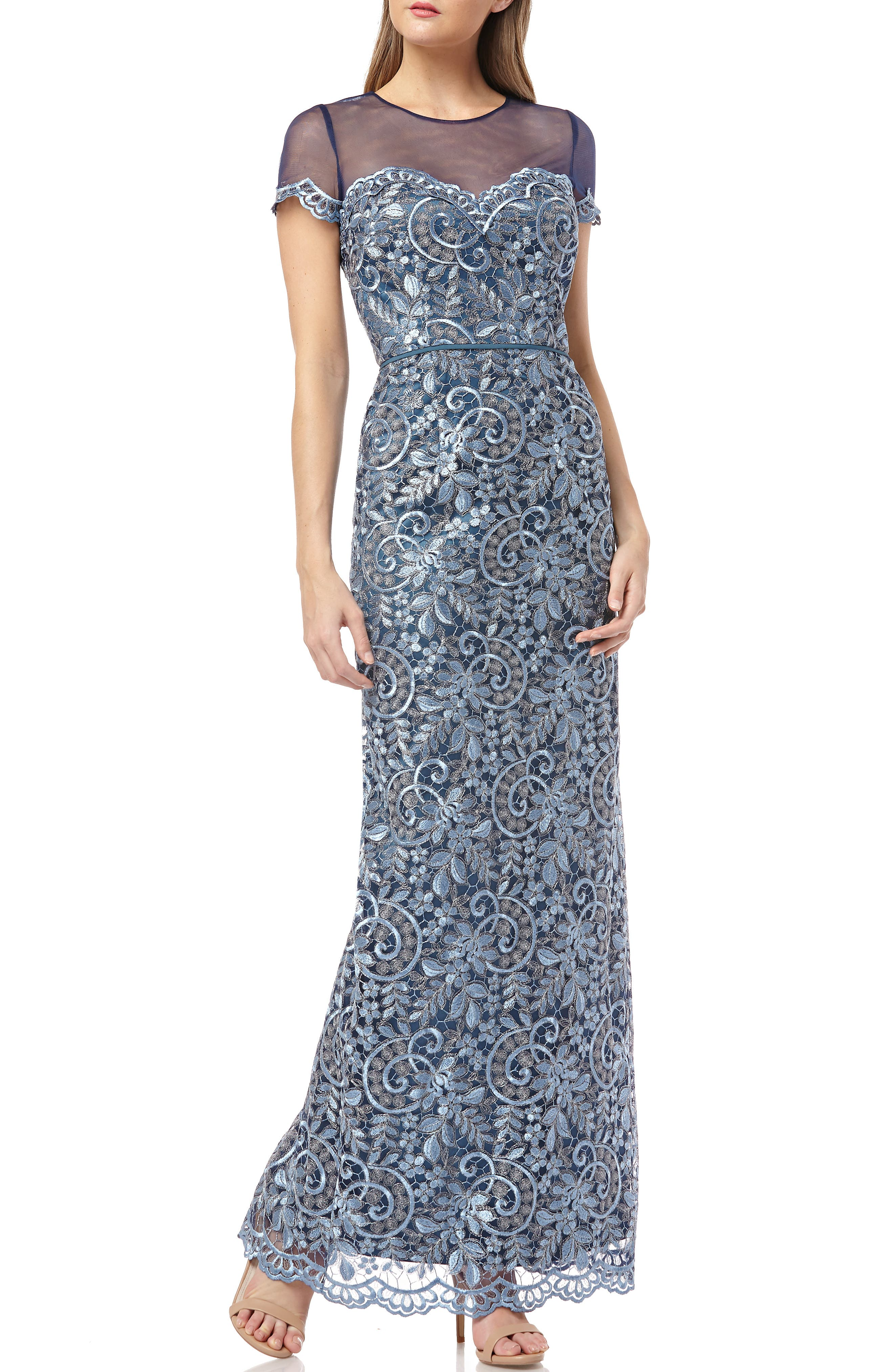 Js Collections Illusion Yoke Scroll Embroidery Gown, Blue