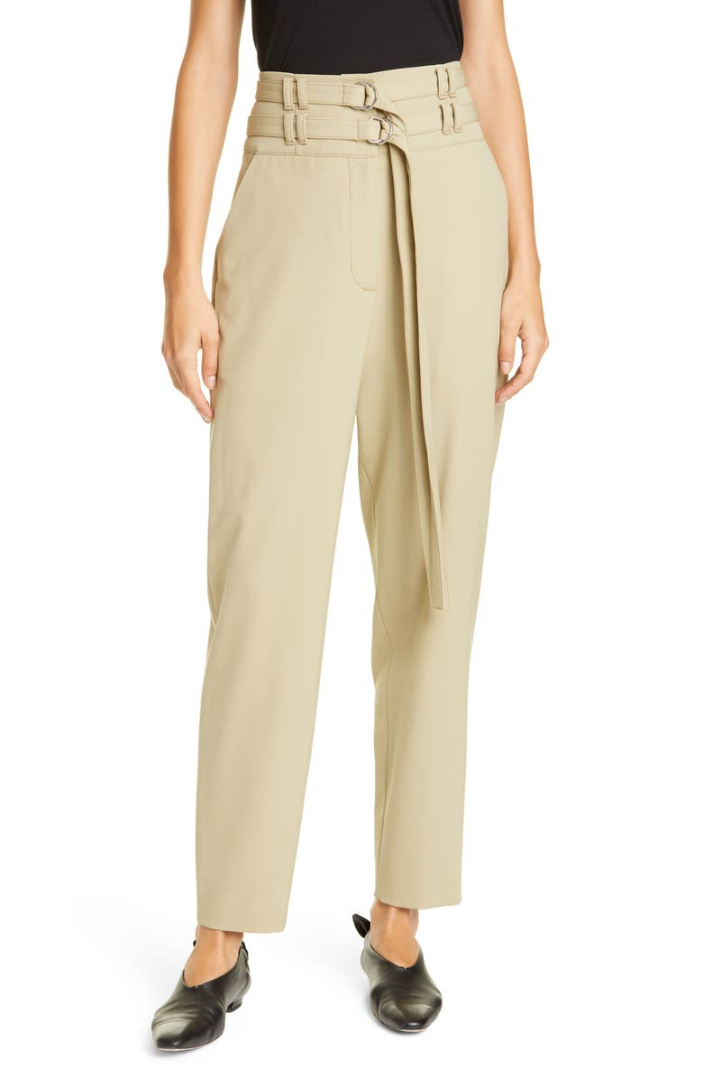 PROENZA SCHOULER Double Belt High Waist Stretch Wool Pants, Main, color, SAGE