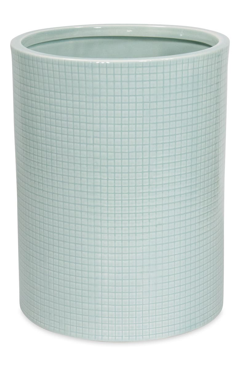 DKNY Fine Grid Wastebasket, Main, color, AQUA