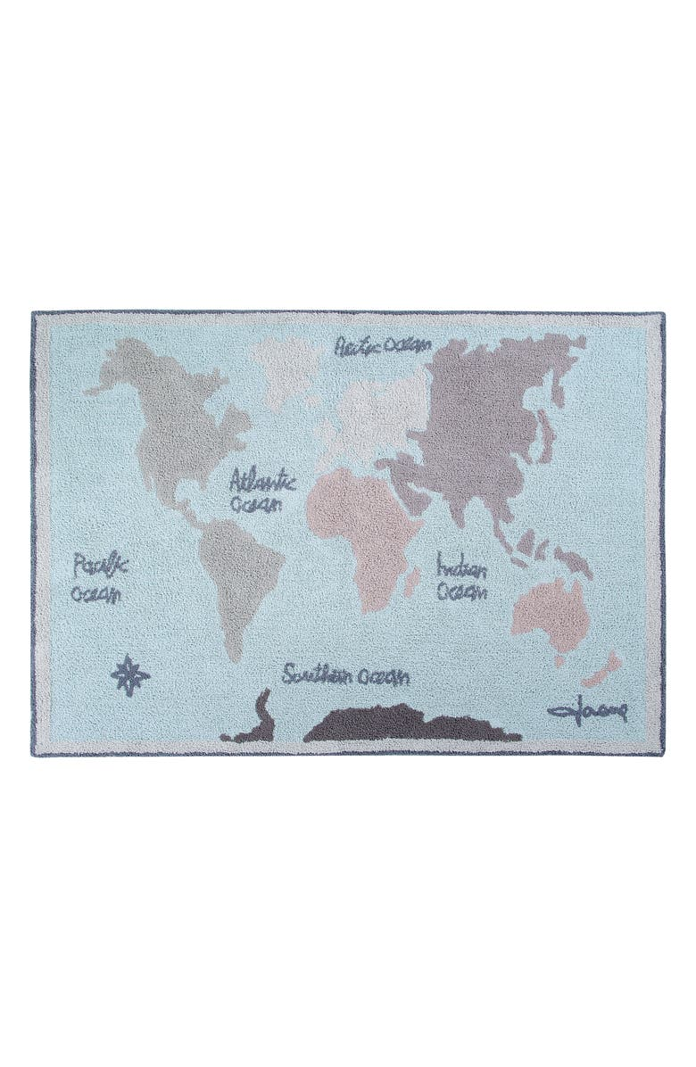 LORENA CANALS Vintage Map Washable Recycled Cotton Blend Rug, Main, color, BLUE