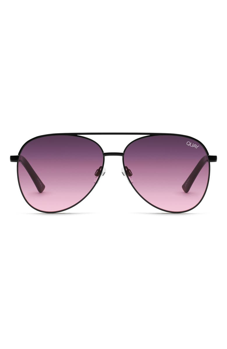 QUAY AUSTRALIA Vivienne 60mm Aviator Sunglasses, Main, color, BLACK/ PURPLE