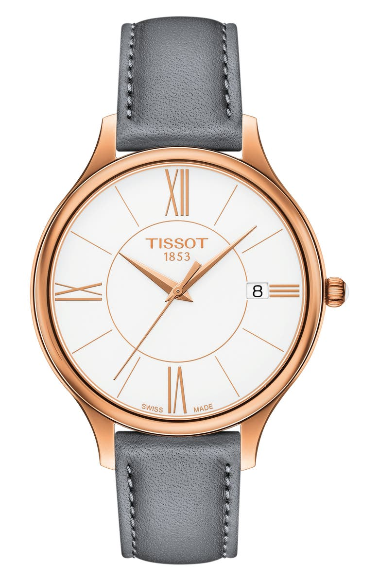 TISSOT Bella Ora Round Watch & Leather Strap Set, 38mm, Main, color, GREY/ WHITE/ ROSE GOLD