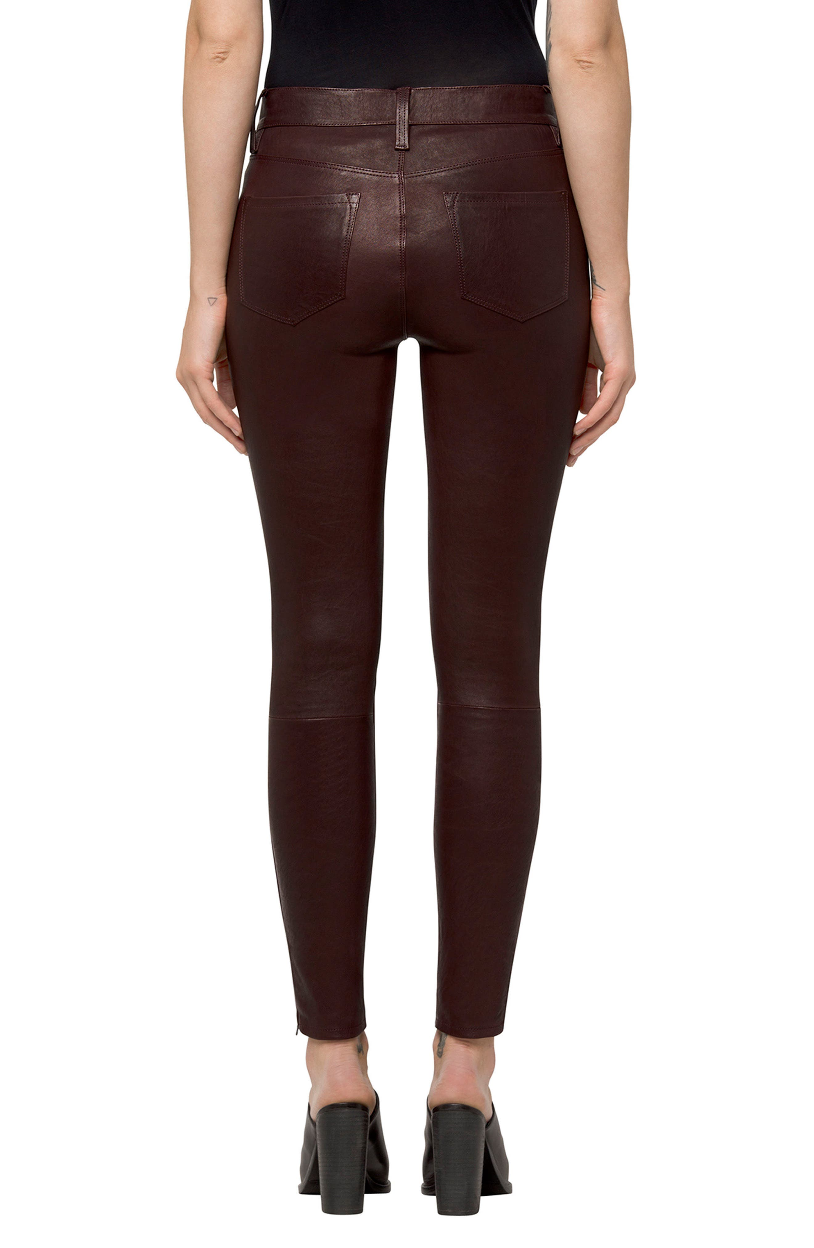 ,                             '8001' Lambskin Leather Pants,                             Alternate thumbnail 31, color,                             608