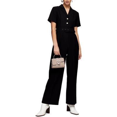 Topshop Sadie Belted Jumpsuit, US - Black