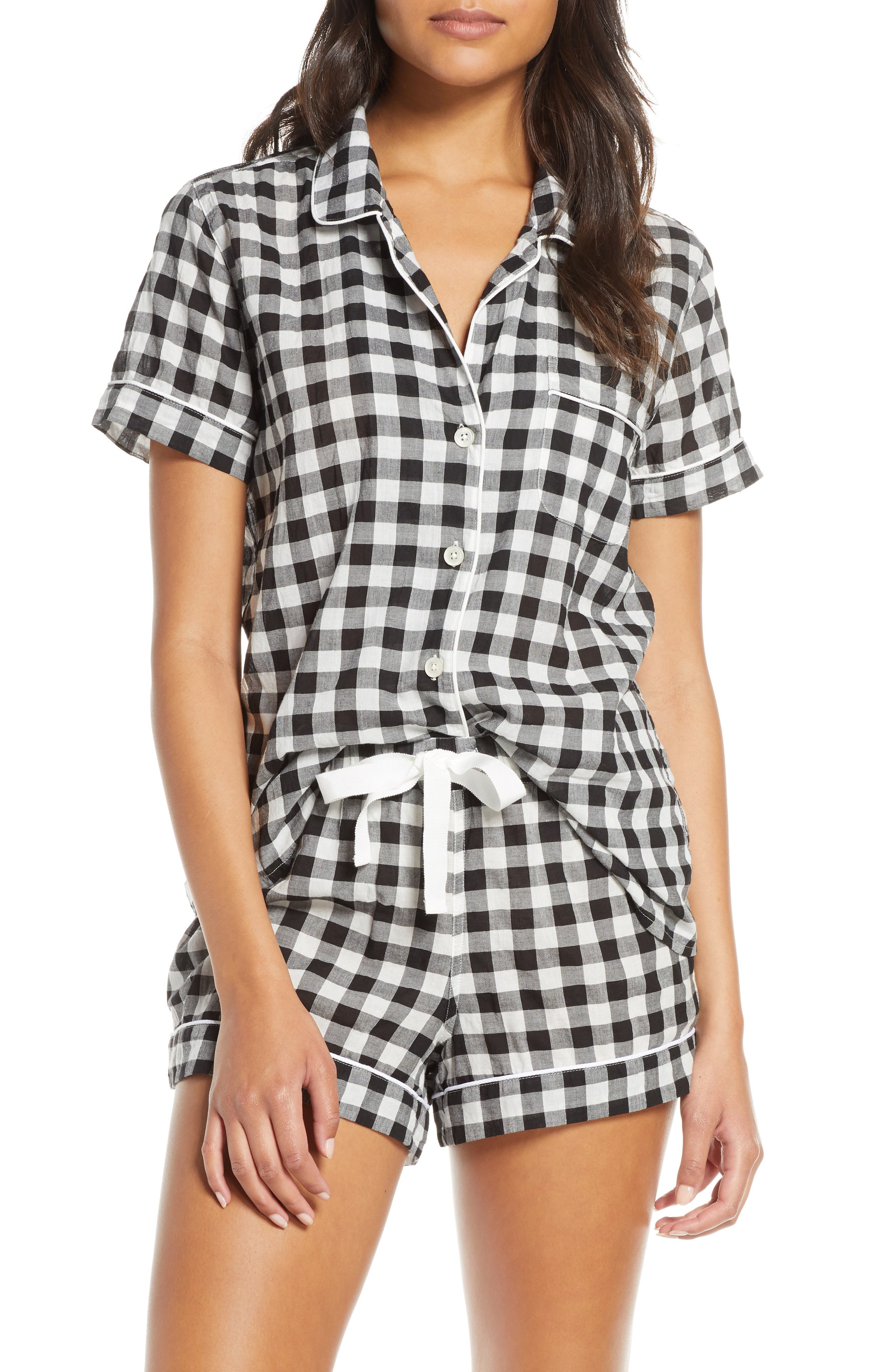 J.crew Gingham Short Sleeve Pajama Top