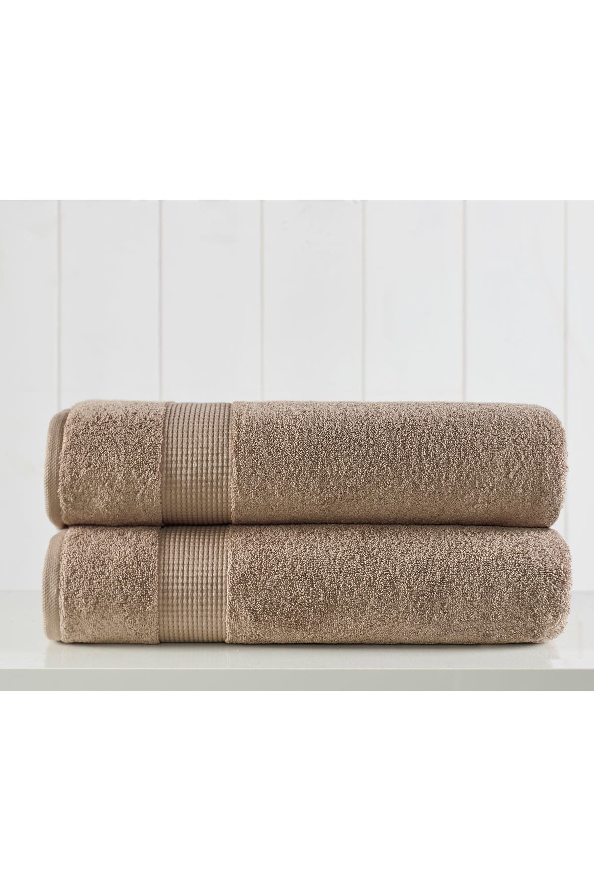Image of Modern Threads Manor Ridge Turkish Cotton 2 Pack Bath Sheet Set - Taupe