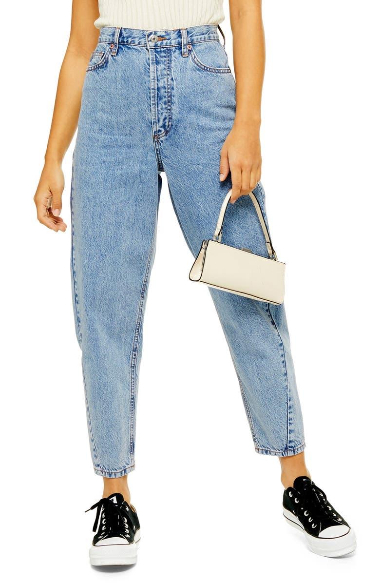 TOPSHOP Ovoid Crop Moto Jeans, Main, color, MID DENIM