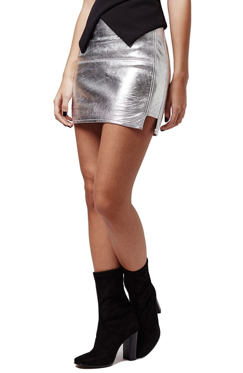TOPSHOP KENDALL + KYLIE at Topshop Metallic Leather Miniskirt, Main, color, 040