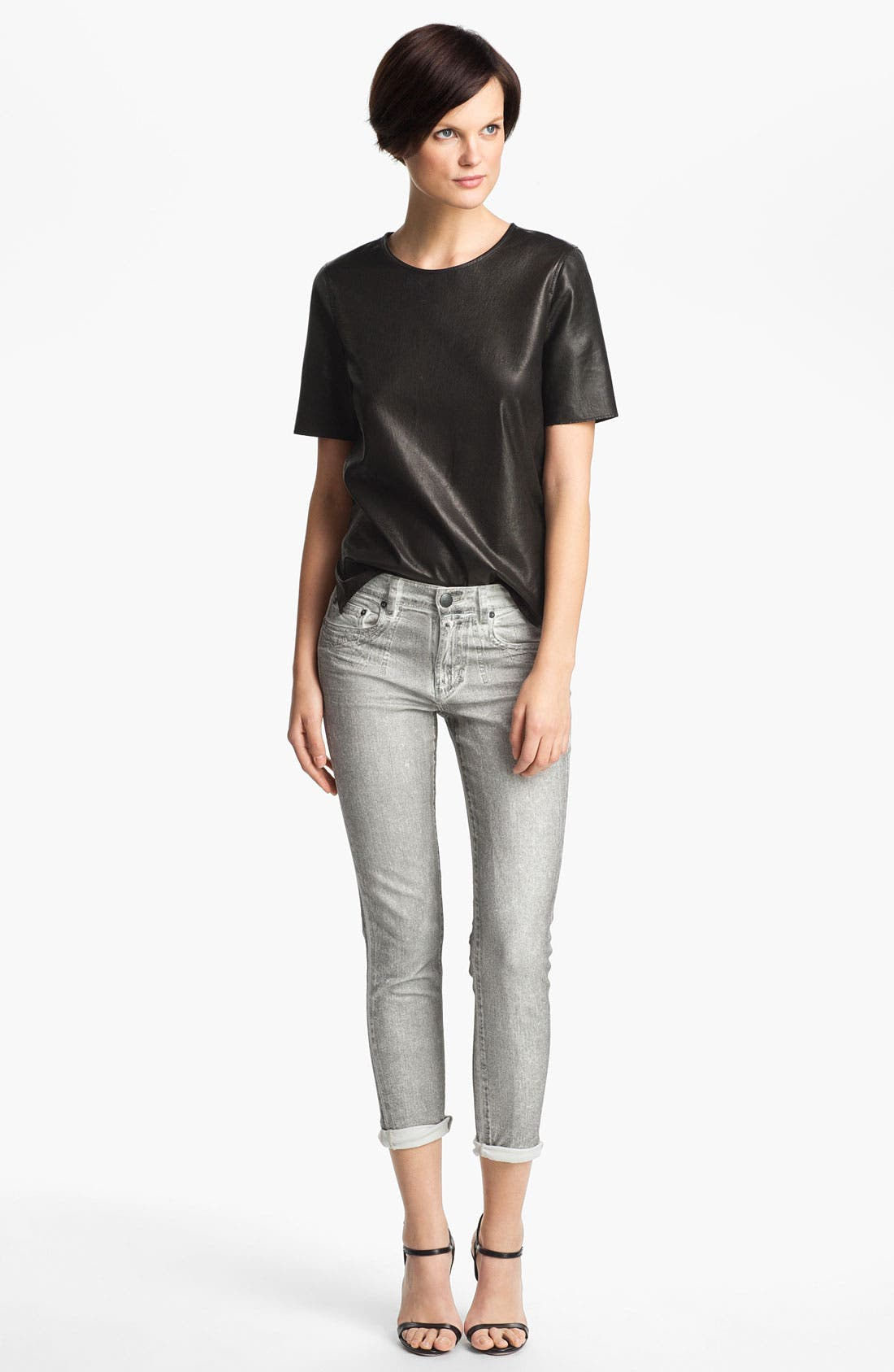 ,                             Leather Tee,                             Alternate thumbnail 3, color,                             001