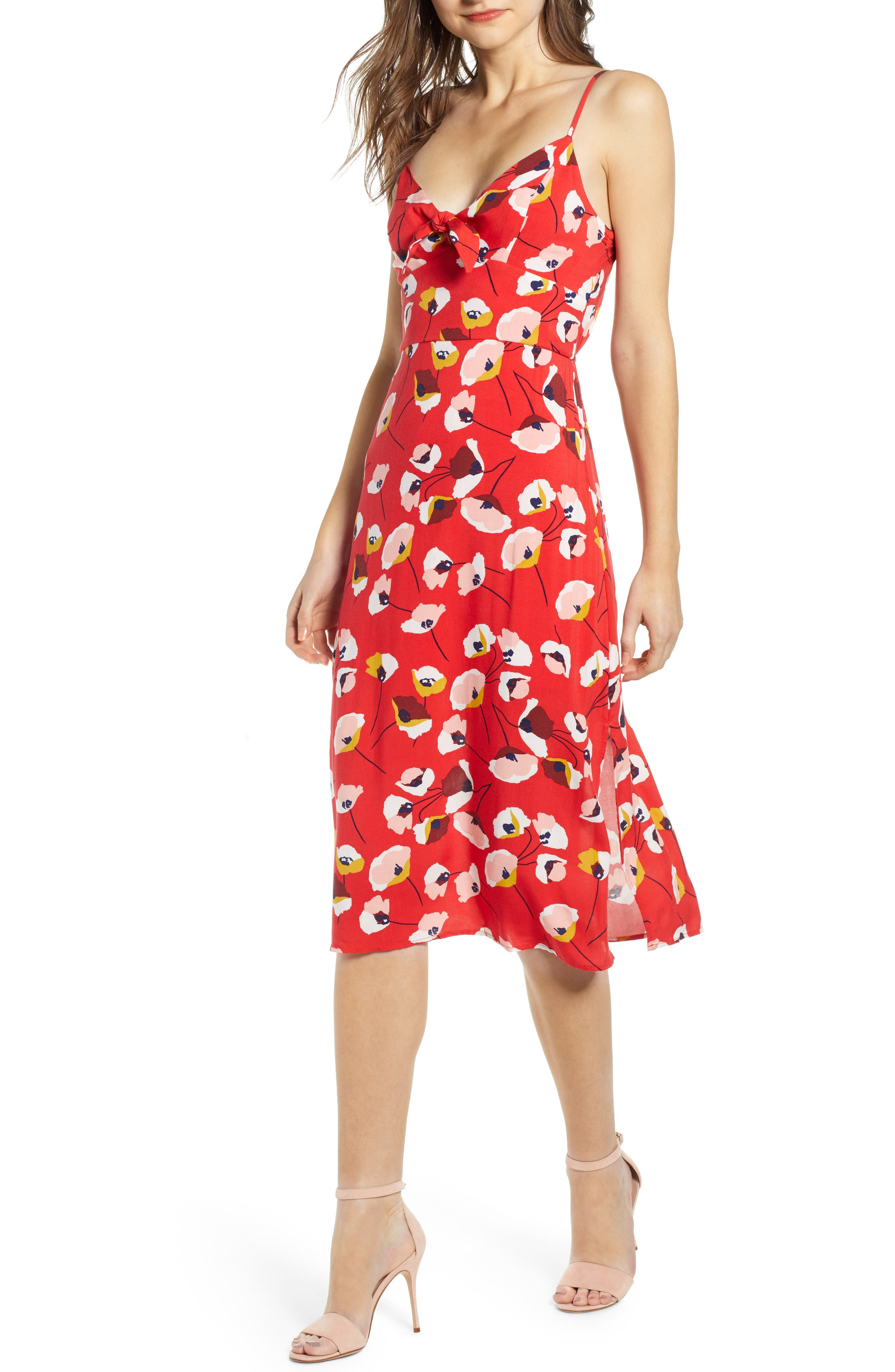 Row A Tie Front Midi Dress, Red