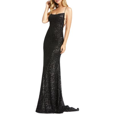 MAC Duggal Sequin Strappy Back Gown, Black