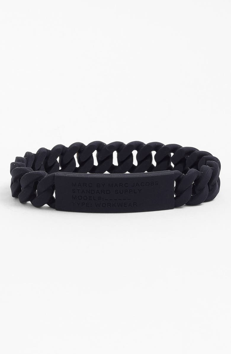 MARC BY MARC JACOBS 'Rubber Standard Supply' Stretch ID Bracelet, Main, color, 001