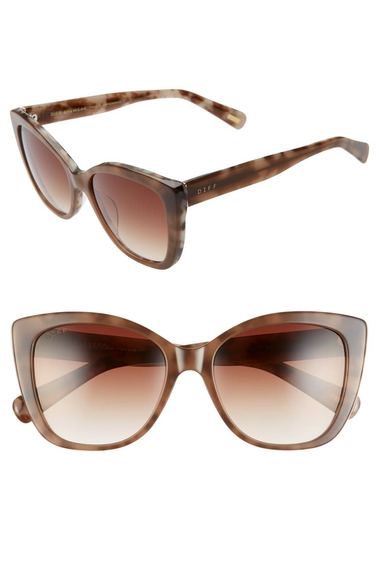 DIFF Ruby 56mm Cat Eye Sunglasses, Main, color, MOCHA TORTOISE/ COFFEE