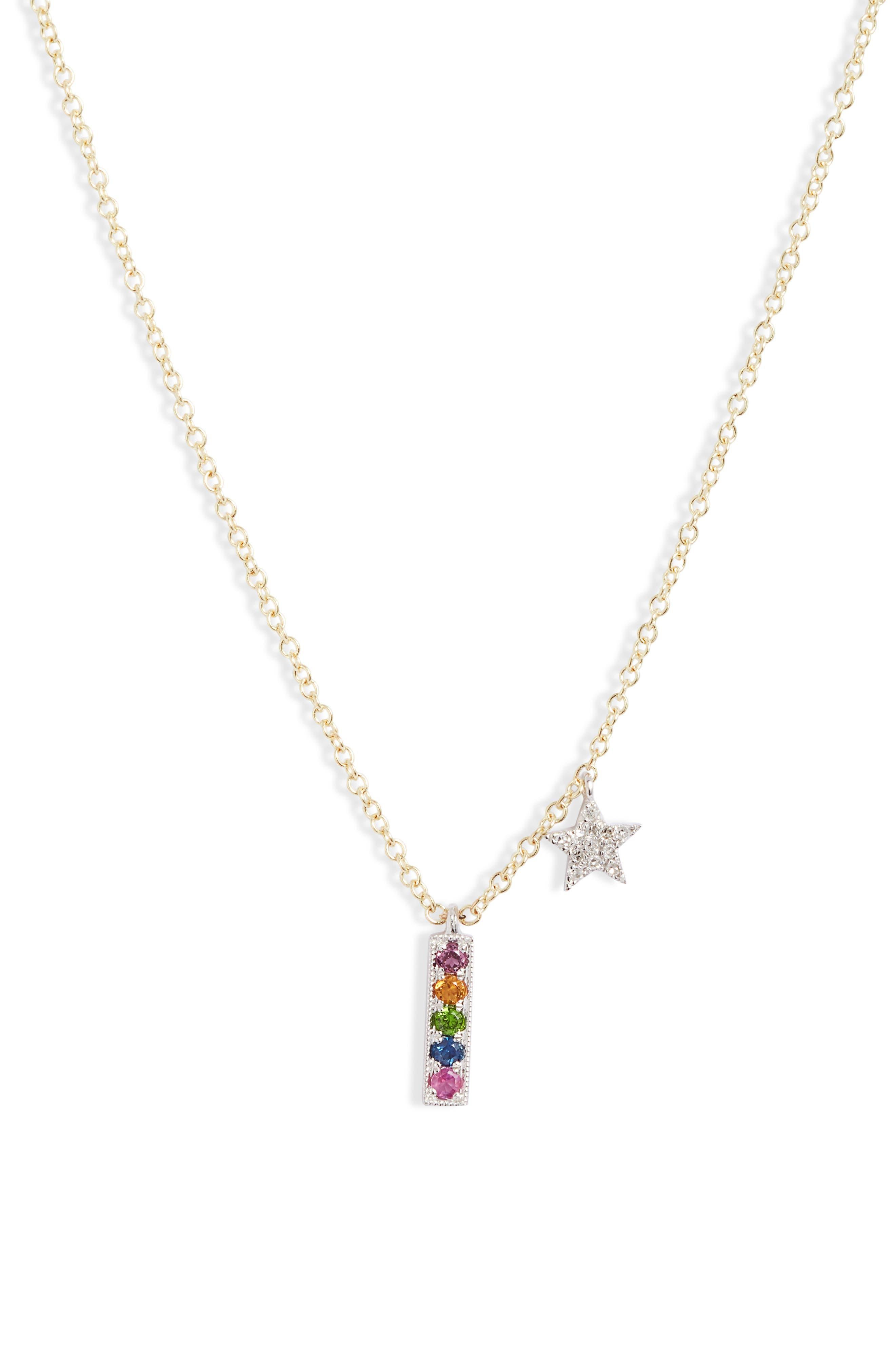 Rainbow Diamond Pave Charm Necklace