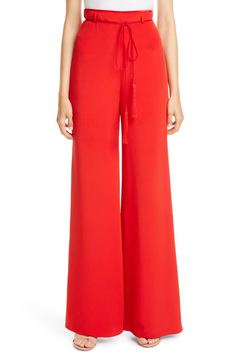 CUSHNIE Tie Belt High Waist Wide Leg Silk Pants, Main, color, VERMILION