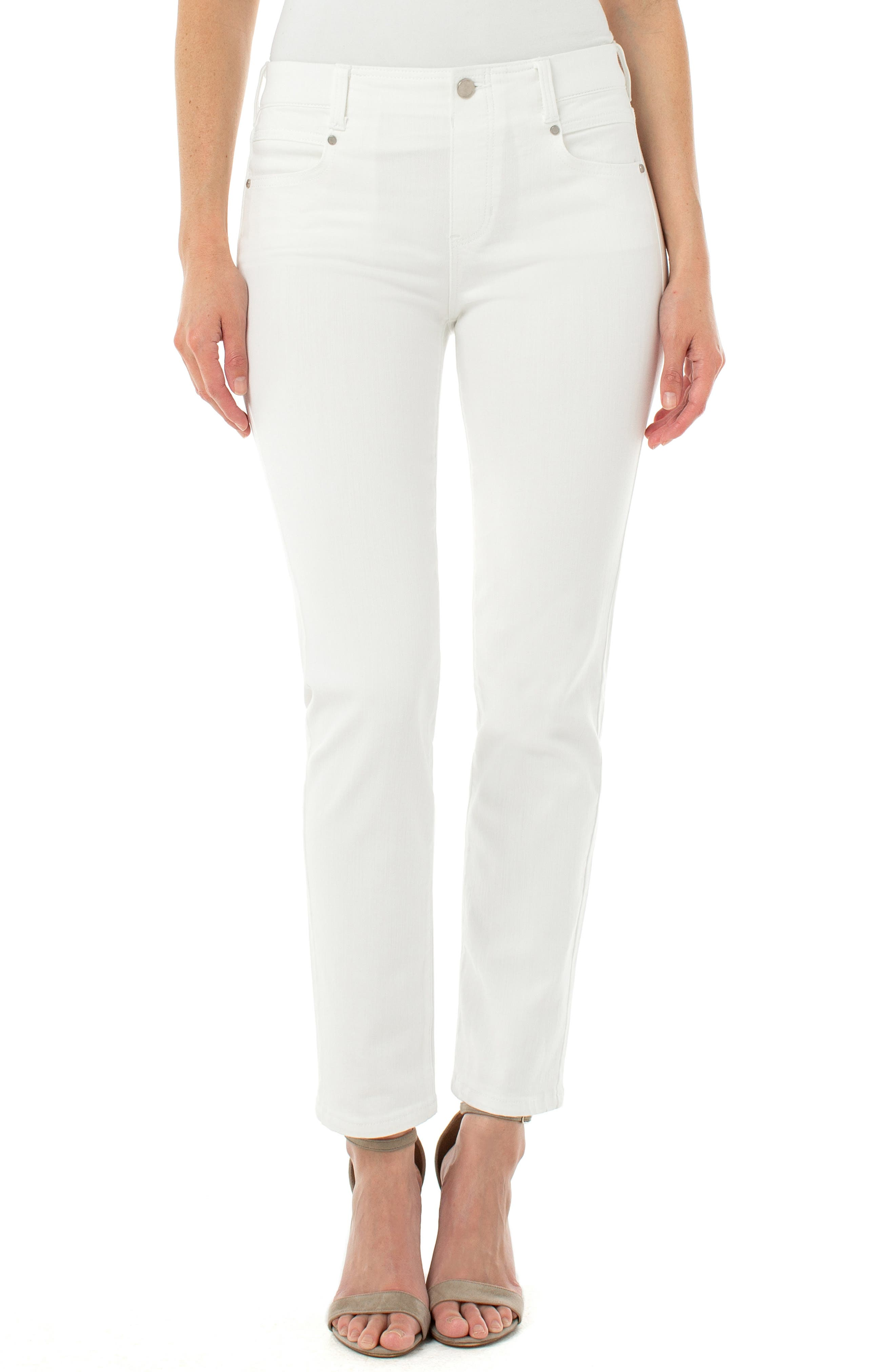 Take white-jeans season in sunny stride with a pull-on pair, designed with a faux fly and a touch of comfy stretch. Style Name: Liverpool Gia Glider Slim Pull-On Jeans. Style Number: 5958703. Available in stores.
