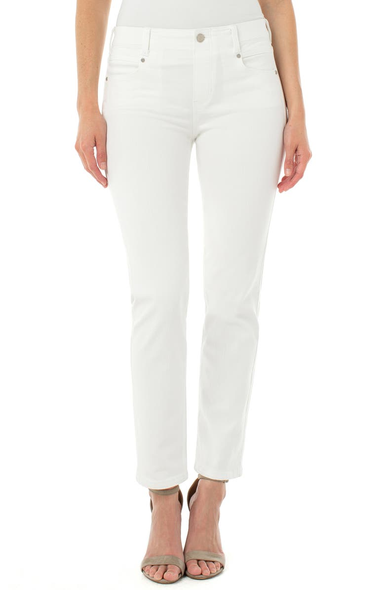 LIVERPOOL Gia Glider Slim Pull-On Jeans, Main, color, BRIGHT WHITE