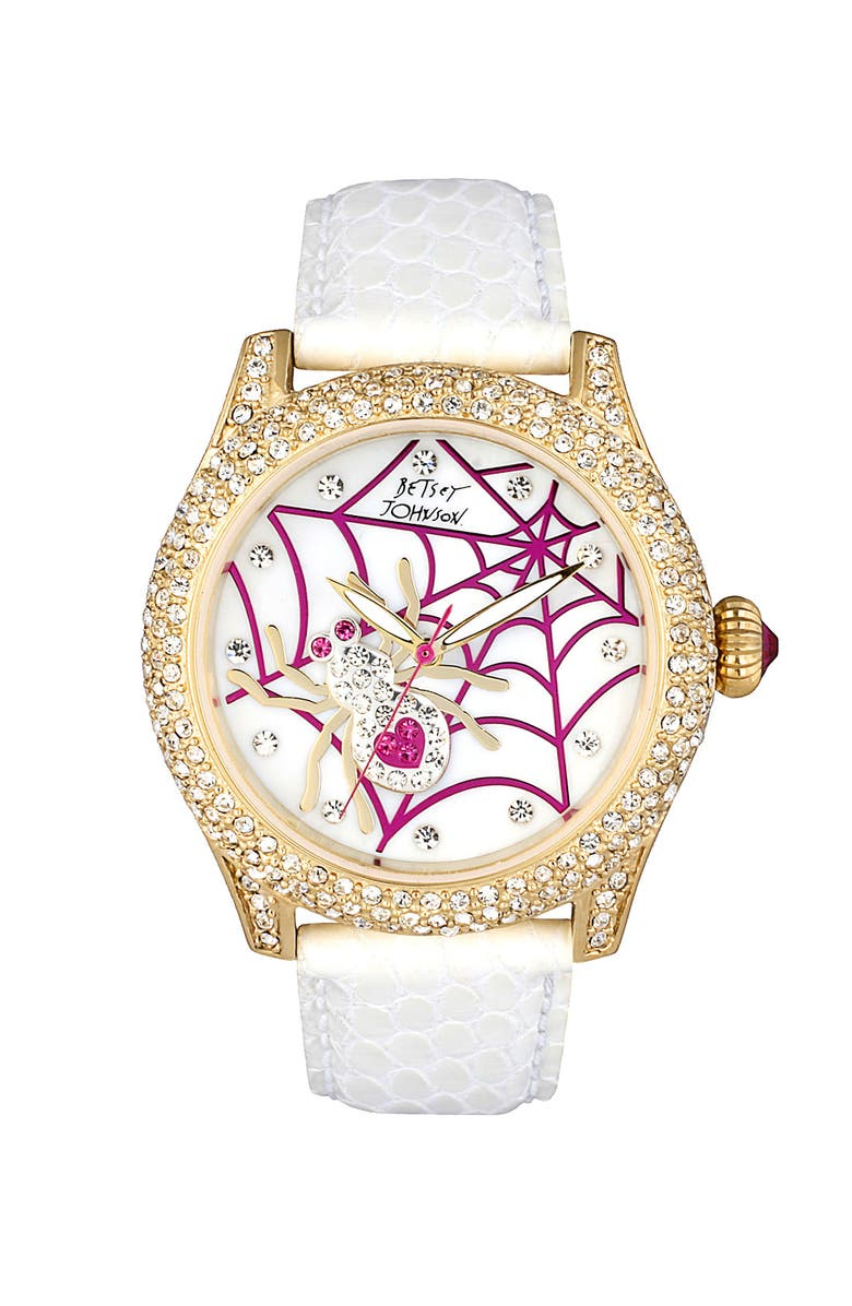 BETSEY JOHNSON Spider Dial Leather Strap Watch, Main, color, White