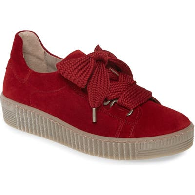 Gabor Lace-Up Sneaker, Red