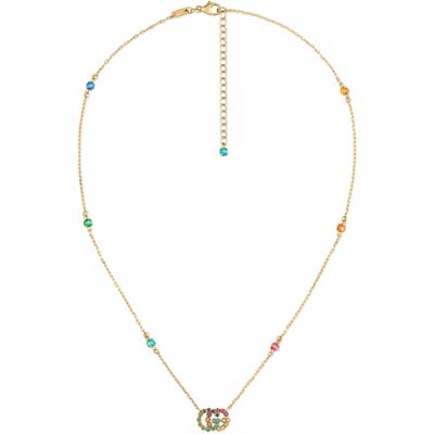 Gucci Running G Semiprecious Stone Pendant Necklace