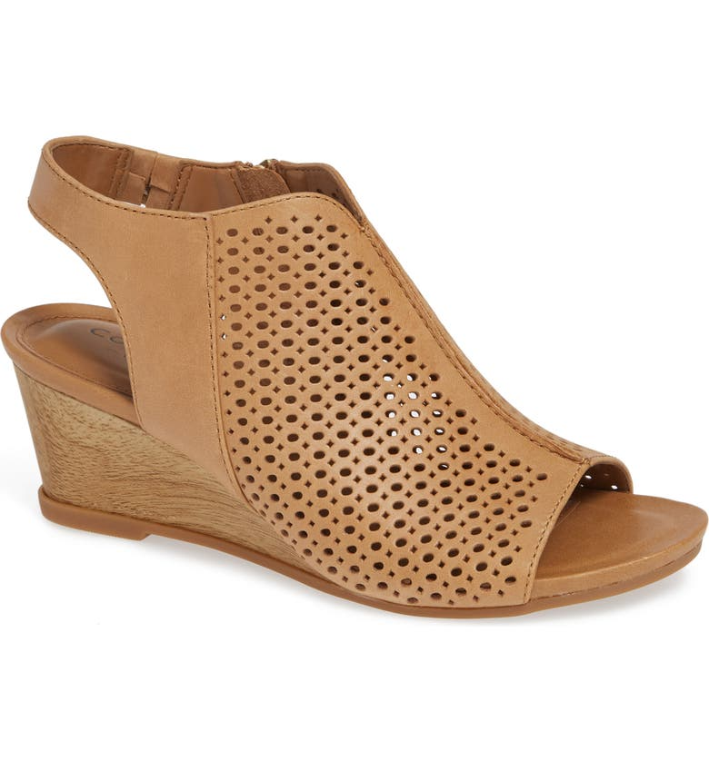 COMFORTIVA Skylyn Wedge Sandal, Main, color, CARAMEL LEATHER
