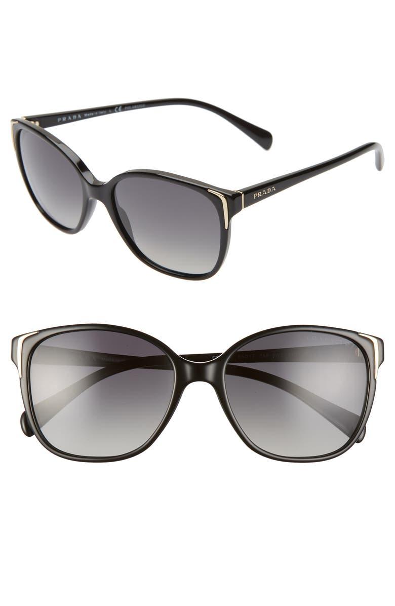 PRADA 55mm Polarized Cat Eye Sunglasses, Main, color, BLACK