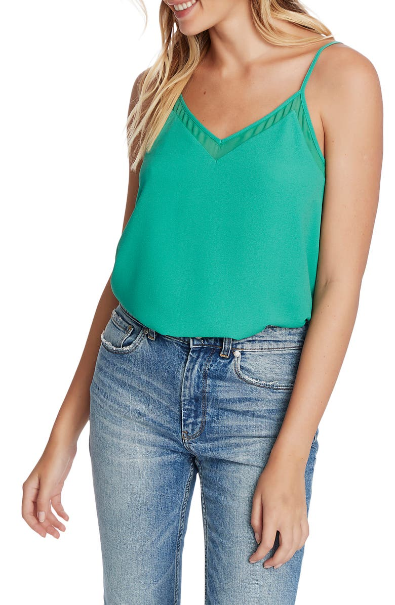 1.STATE Chiffon Inset Camisole, Main, color, FRESH GRASS