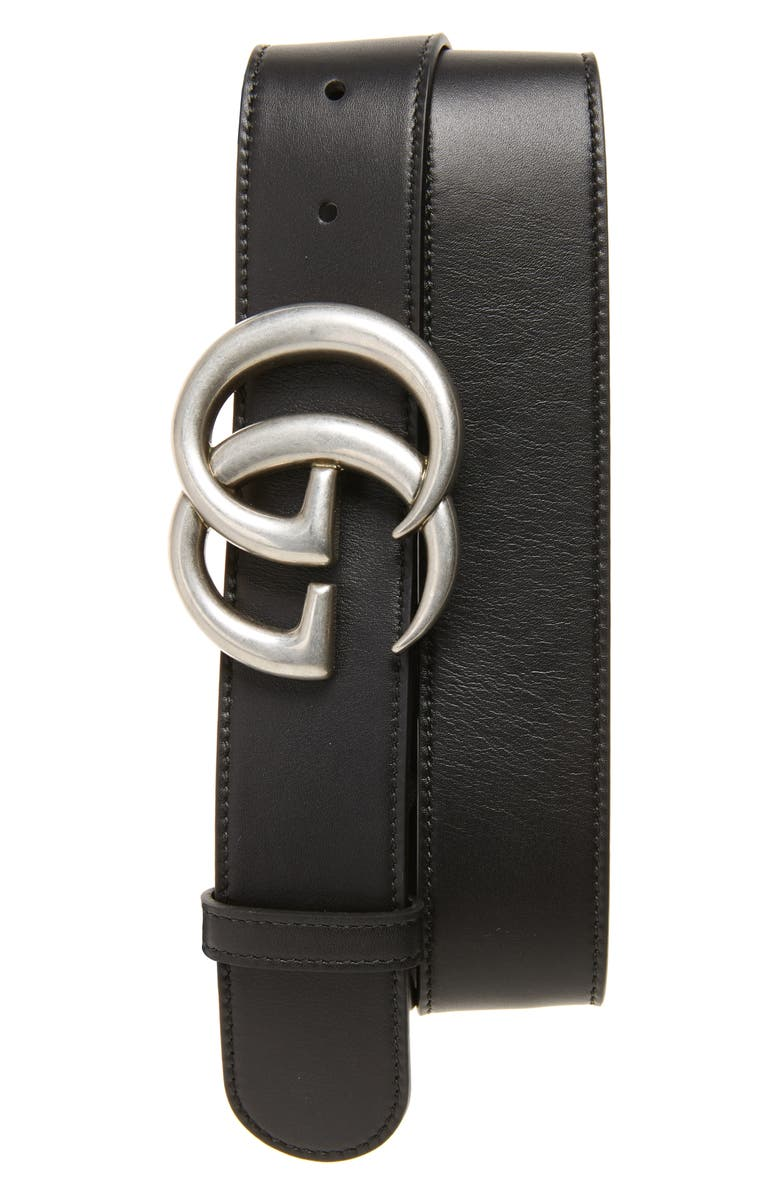 GUCCI Logo Leather Belt, Main, color, BLACK
