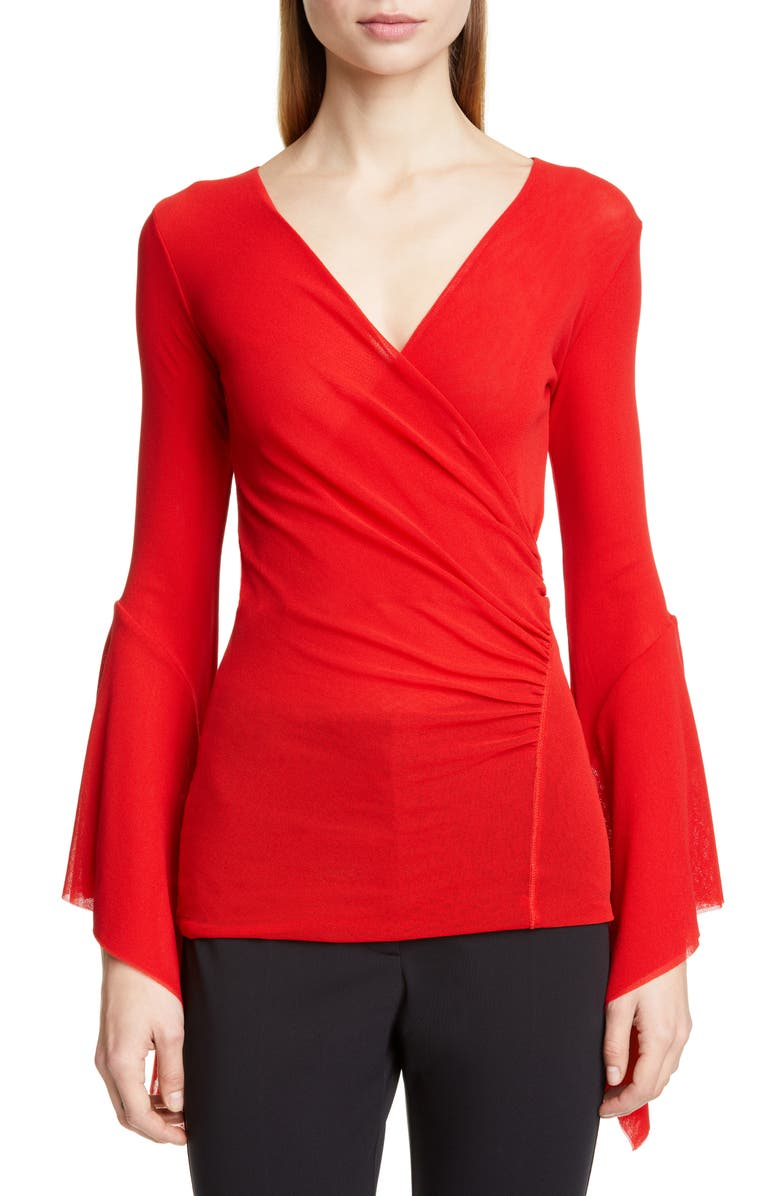 FUZZI Ruffle Sleeve Wrap Front Top, Main, color, ROSSO