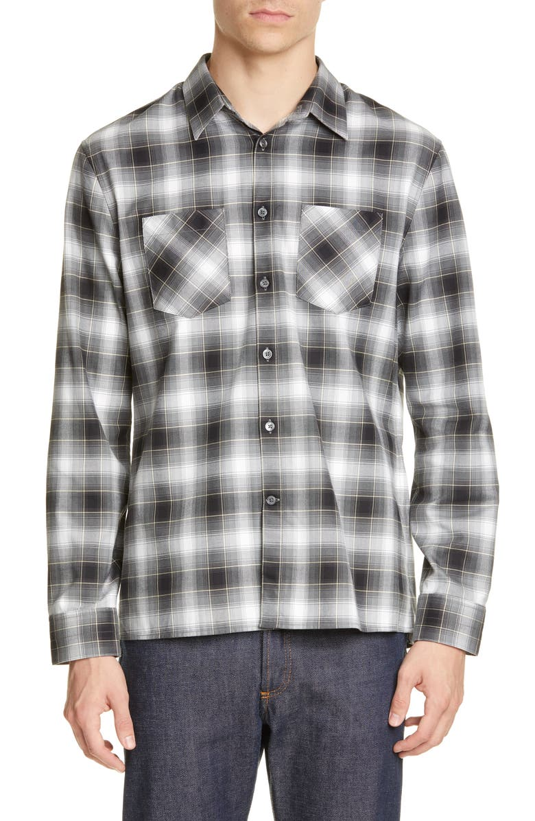 JOHN VARVATOS Slim Fit Plaid Button-Up Twill Shirt, Main, color, BLACK/WHITE