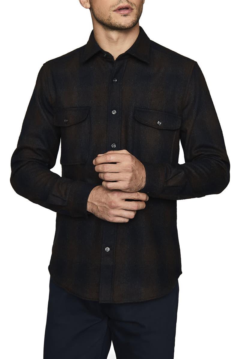 REISS Marty Slim Fit Tonal Check Overshirt, Main, color, NAVY/ BORDEUX