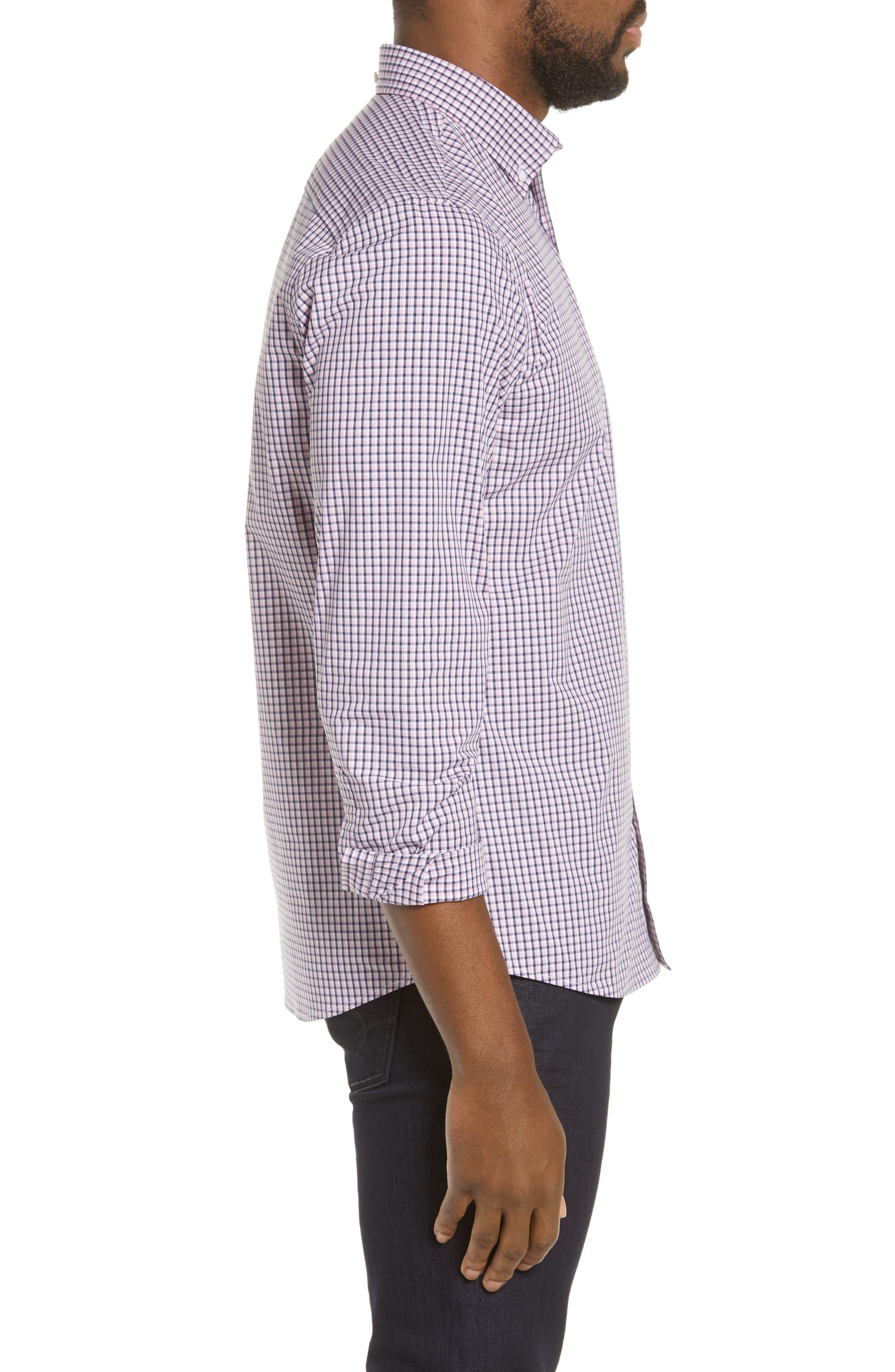 ,                             Tech-Smart Regular Fit Check Sport Shirt,                             Alternate thumbnail 4, color,                             NAVY MEDIEVAL PINK CHECK