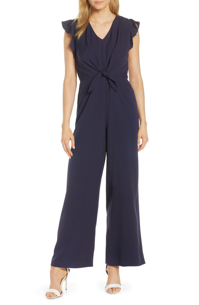 JULIA JORDAN Tie Waist Jumpsuit, Main, color, NAVY