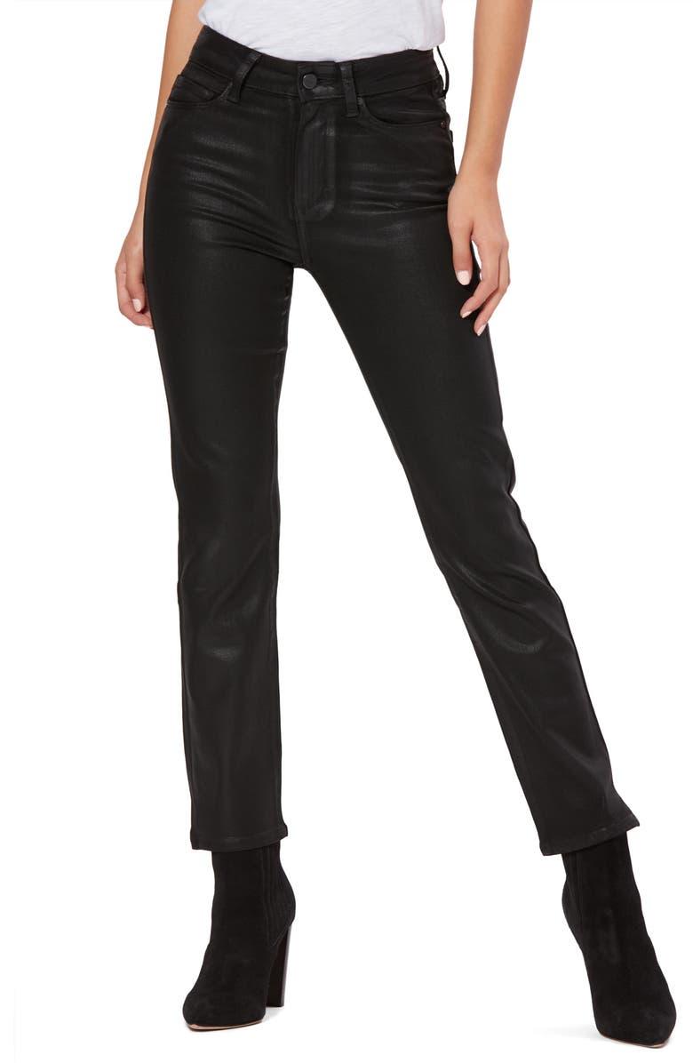 PAIGE Transcend - Cindy Coated High Waist Side Slit Jeans, Main, color, BLACK FOG LUXE COATING