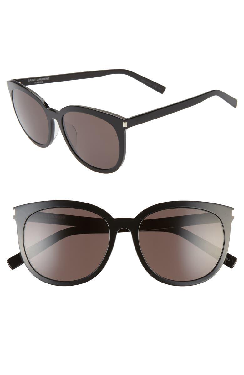 SAINT LAURENT Slim 56mm Cat Eye Sunglasses, Main, color, SHINY BLACK