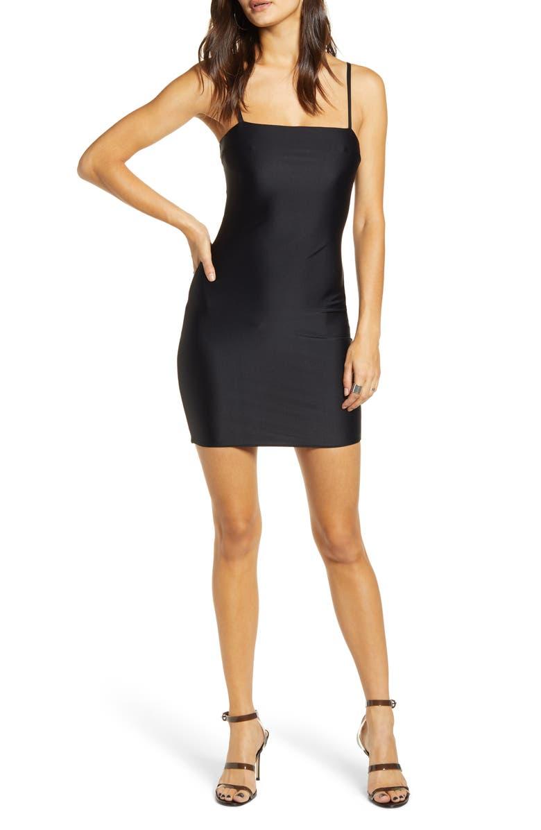 TIGER MIST Solange Open Back Body-Con Dress, Main, color, BLACK