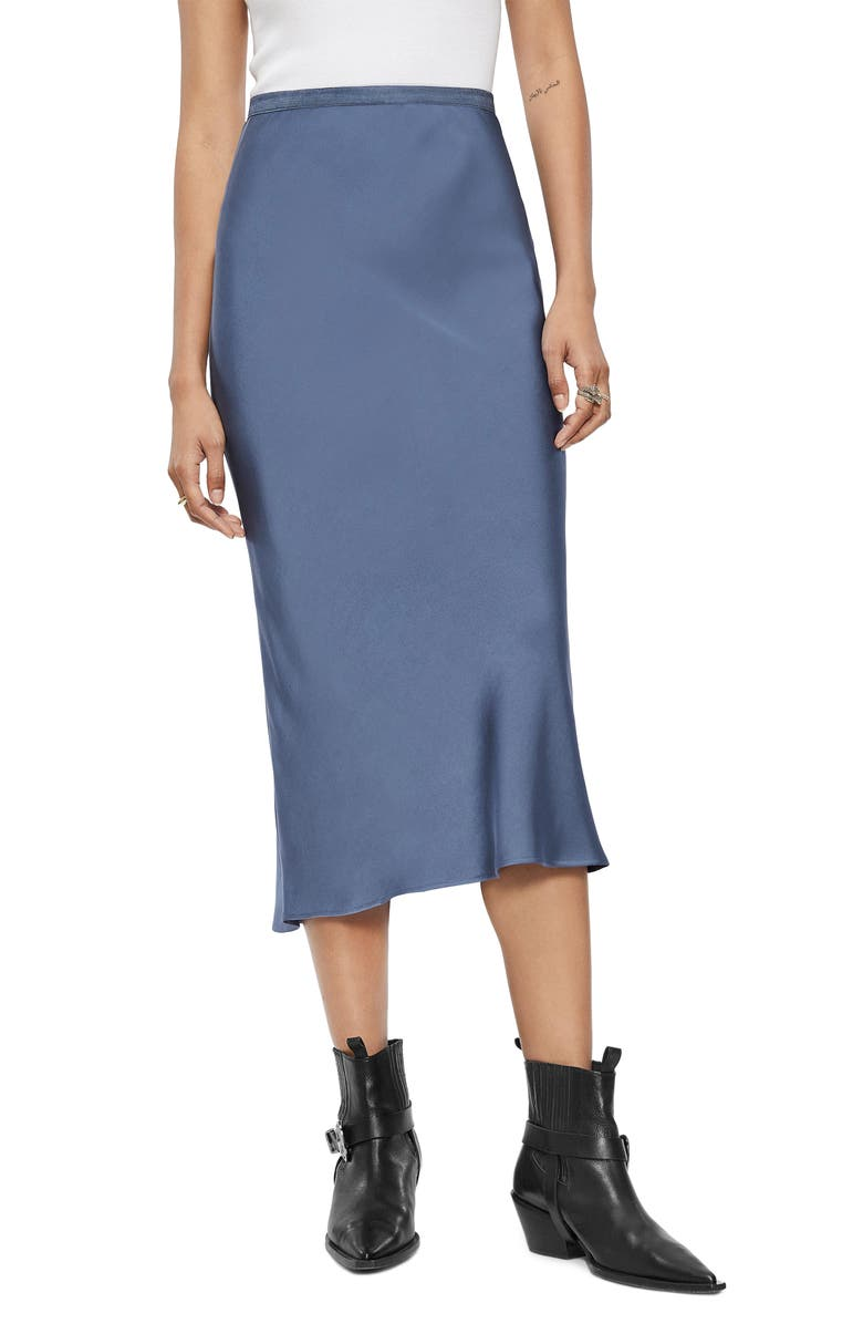ANINE BING Bar Silk Midi Skirt, Main, color, DUSTY BLUE