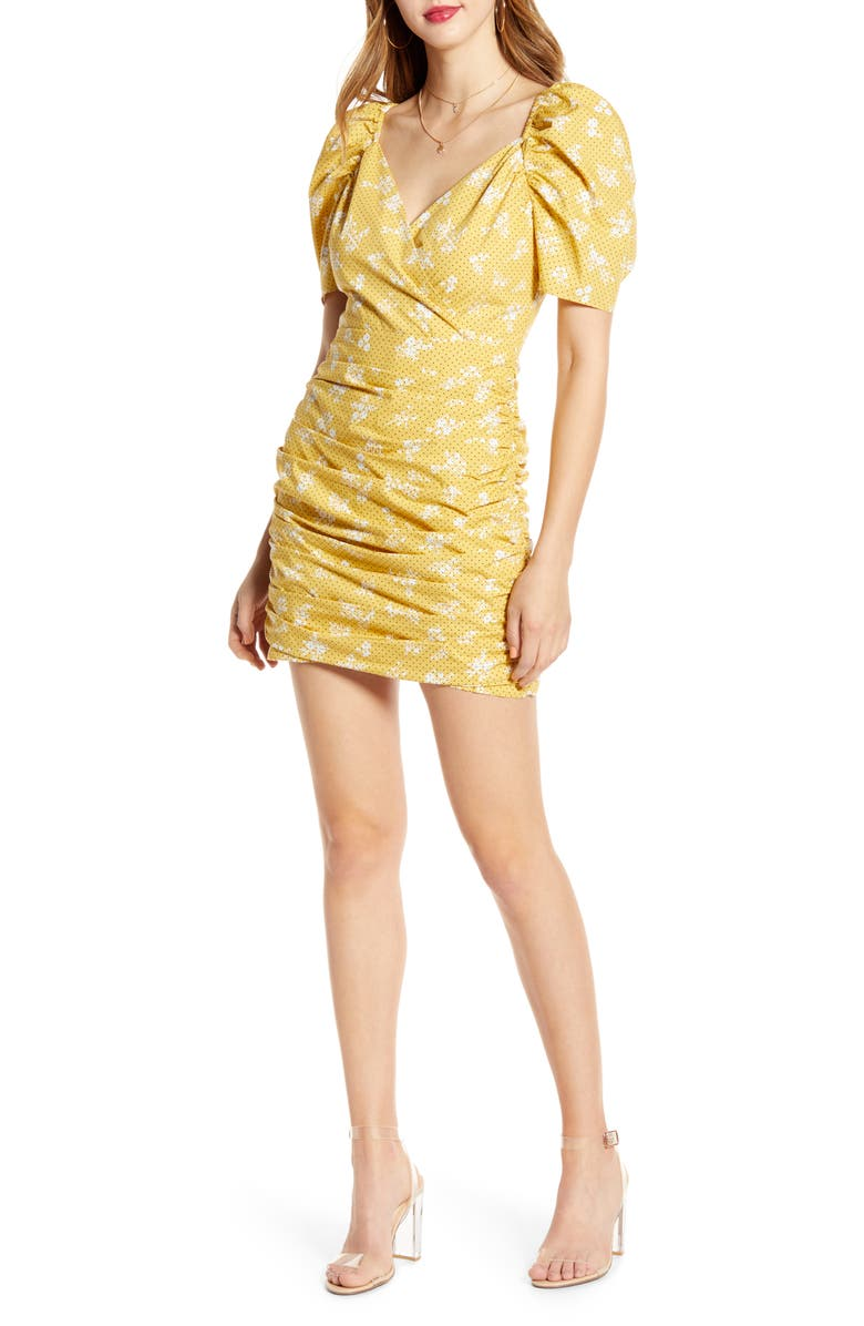 ENGLISH FACTORY Puff Sleeve Cotton Minidress, Main, color, YELLOW