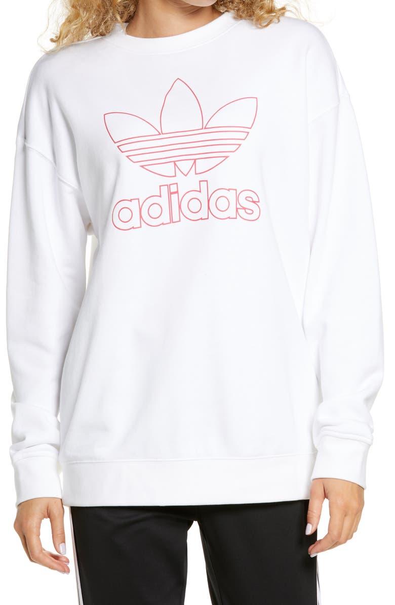 ADIDAS ORIGINALS Trefoil Crewneck Sweatshirt, Main, color, WHITE/ POWER PINK