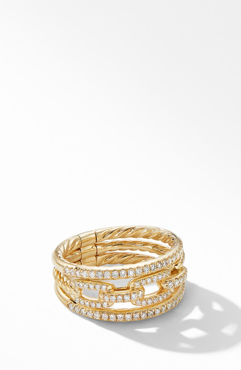 DAVID YURMAN Stax Three-Row Chain Link Ring in 18K Yellow Gold and Diamonds, Main, color, YELLOW GOLD/ DIAMOND