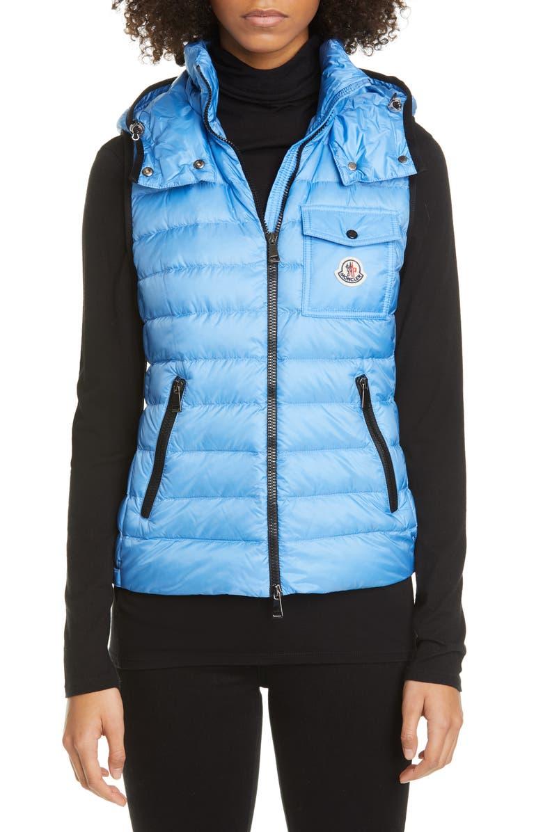 MONCLER Glycine Lightweight Down Puffer Vest, Main, color, BLUE