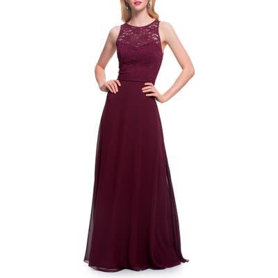 #levkoff Lace Bodice Chiffon Gown, Burgundy